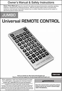 Harbor Freight Jumbo Universal Remote Control Product Manual