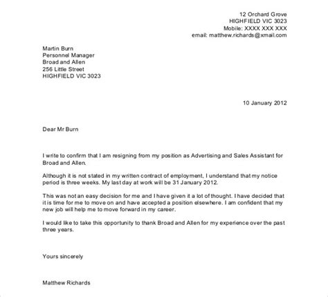 resignation letter template word 27 resignation letter templates free word excel pdf 7022