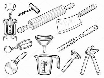 Kitchen Utensil Drawing Equipment Utensils Sketches Illustration