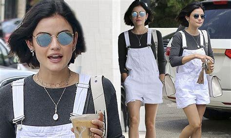 Pretty Little Liars' Lucy Hale wears white dungarees in LA ...