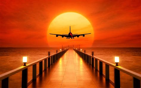 Sunset Airplane Takeoff Free Images For Wallpapers Hd ...