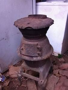 Antique Pot Belly Wood  Coal Stove Eagle And Stars