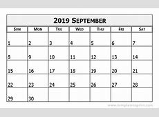 September 2019 Calendar Word yearly printable calendar