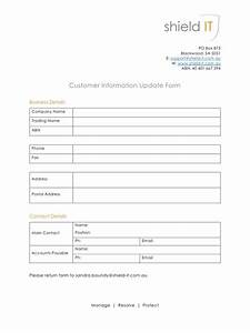 customer information update form by user customer With update contact information form template