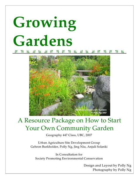 how to start a community garden growing gardens a resource package on how to start your