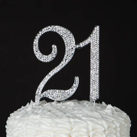 number decorations 21 cake topper 21st birthday silver number