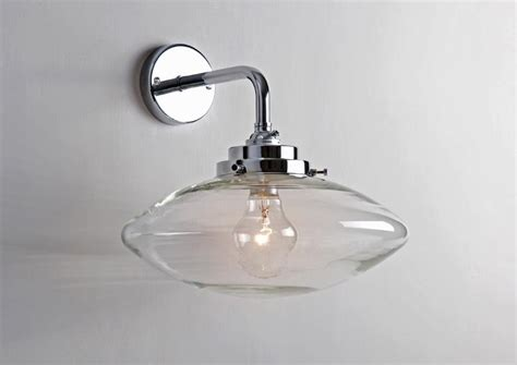 clear bubble wall light with deco fittings nickel