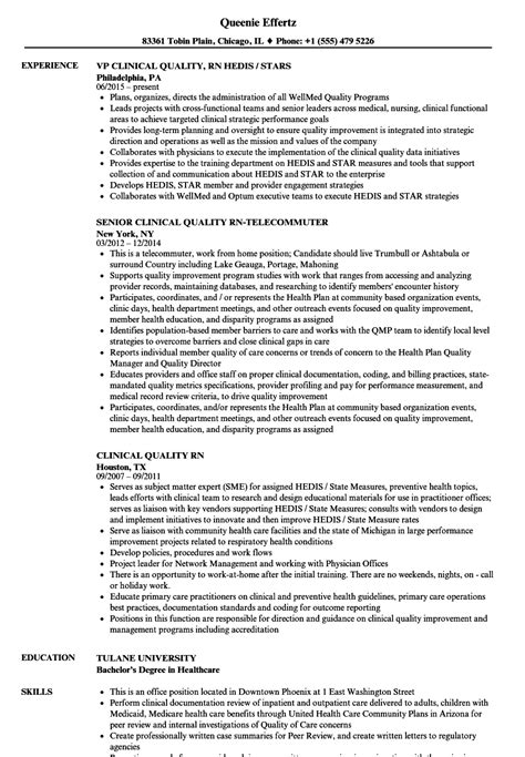clinical quality rn resume sles velvet