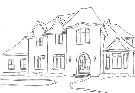 houses house sketches basic outline drawing home