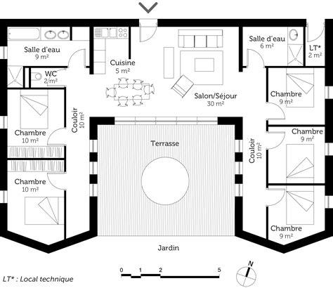 plan de maison 3 chambres plain pied plan maison plain pied avec 5 chambres ooreka
