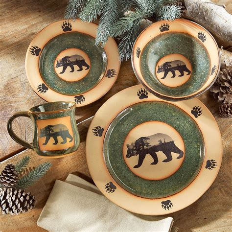 mountain scene bear pottery dinnerware  pcs