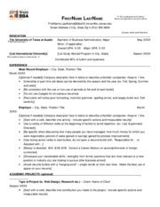 Ut Mccombs Resume Format by Assadasf