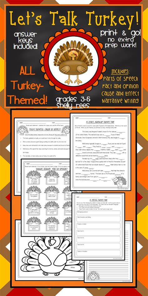 thanksgiving turkey reading ela printable packet includes cause and effect parts of speech