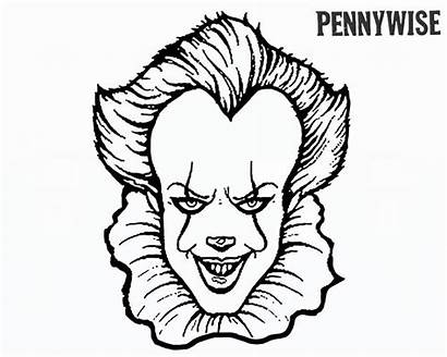 Pennywise Clown Coloring Pages Draw Scary Printable