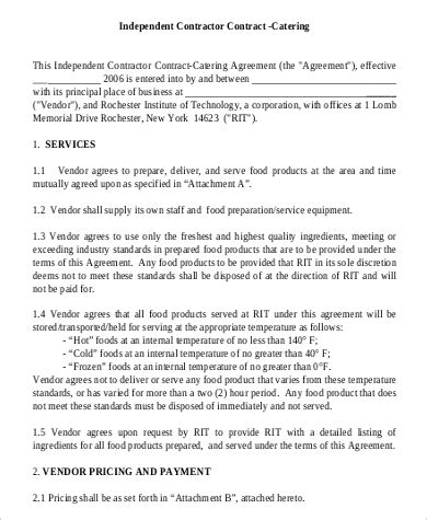 sample catering contracts   ms word