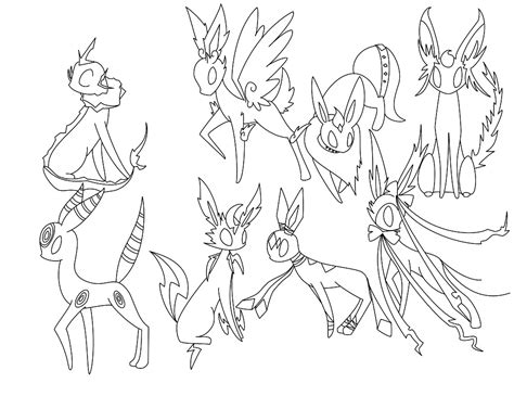 Eeveelutions Coloring Pages Sketch Page