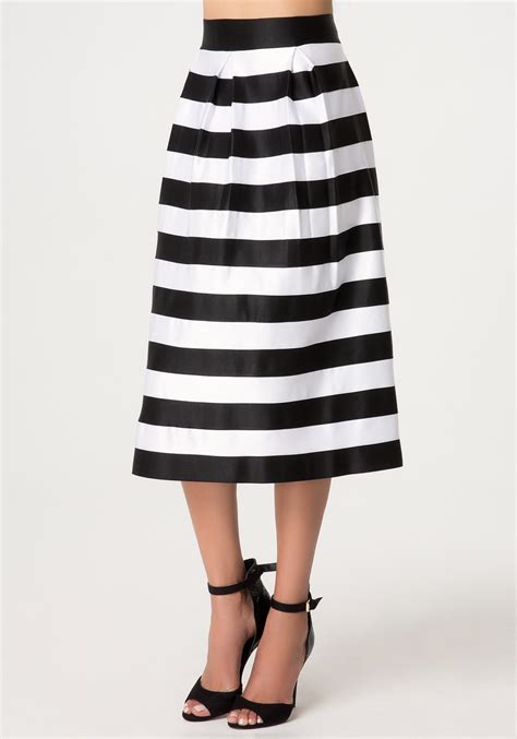 lyst bebe zola striped skirt in black