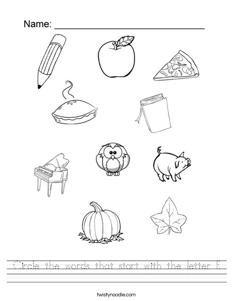letter p word search worksheet twisty noodle circle the words that start with the letter p worksheet 70107