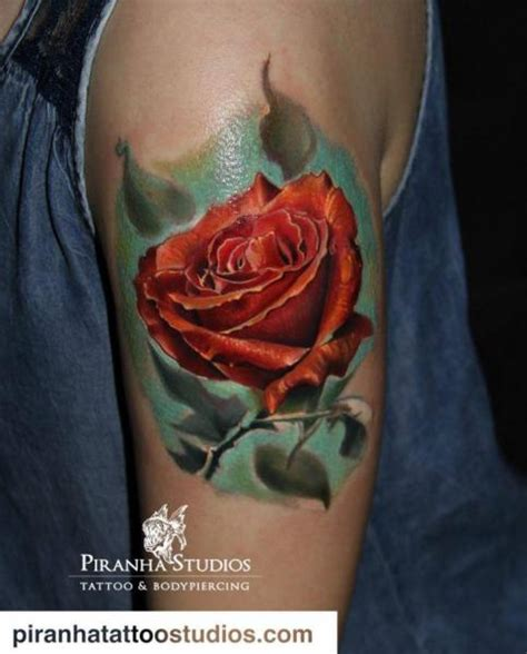 arm realistic flower rose tattoo  piranha tattoo studio