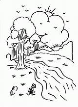 River Coloring Printable Camping Designlooter Trees Clouds Sun sketch template