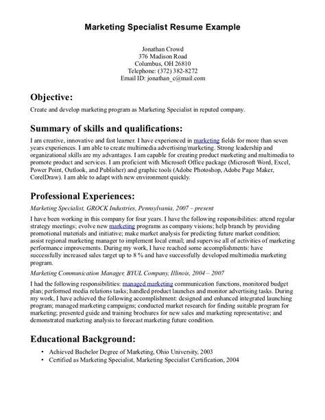 Digital Marketing Specialist Resume Exle by Marketing Specialist Resume Sales Specialist Lewesmr