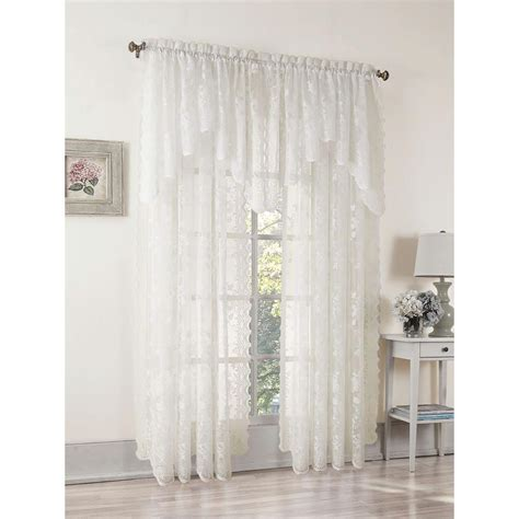 in swag l home depot lichtenberg sheer ivory alison lace curtain swag 58 in w
