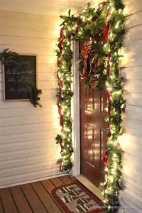 Our, Christmas, Front, Porch, With, Hanging, Candle, Lanterns