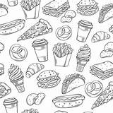 Fast Seamless Decorative Pattern Burger Drawing Drawn Line Illustrations sketch template