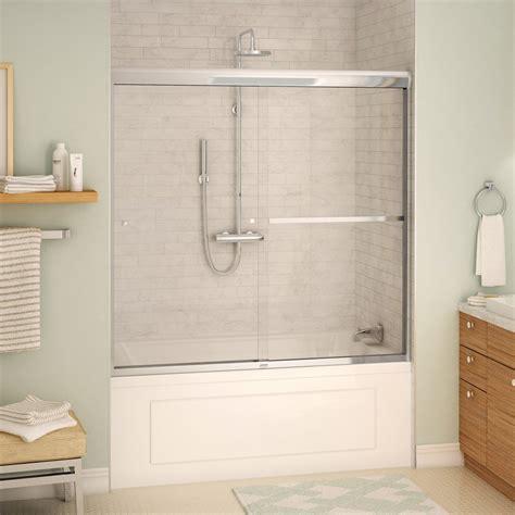Bath Tub Shower Doors by Maax 135673 9 Maax Aura 8mm 55 59 X 57 Tub Door Lowe S