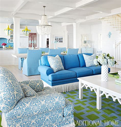 family lake home with vibrant color traditional home