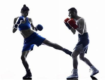 Boxing Kickboxing Silhouette Woman Boxer Isolated Training