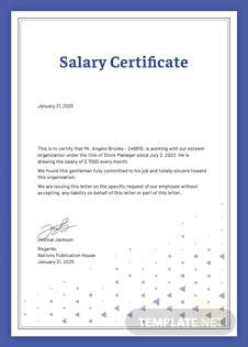 salary certificate template  microsoft word