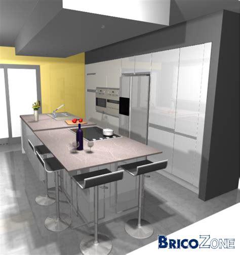 meuble de cuisine ilot central distance entre meubles de cuisine et ilot