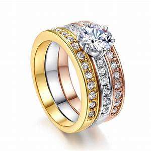 classic designer 3 round cz diamond paved engagement rings With classic wedding ring sets