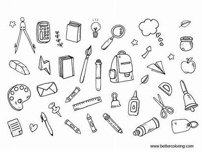 Coloring Supplies Pages Printable Icons Adults