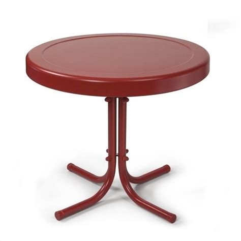 red coral table l crosley retro metal table in coral red co1011a re