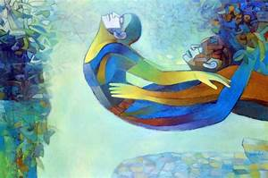 Flying Couple by artist Brajmohan Arya – Fantasy, Painting