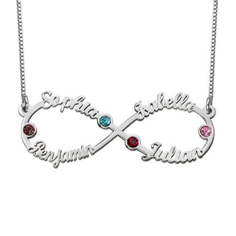 collier infini avec 4 pr 233 noms et pierres de naissance mon collier pr 233 nom