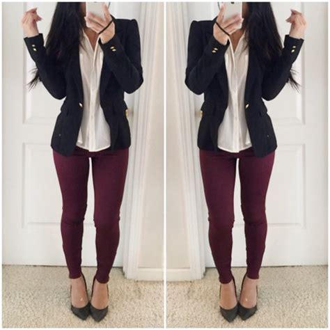 Clothes jacket blouse top style shirt black shoes sea of shoes burgundy pants ...