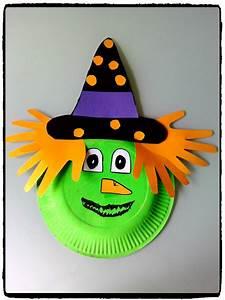 Dessin Citrouille Facile : bricolage sorci re en assiette en carton bricolage halloween enfant halloween pinterest ~ Melissatoandfro.com Idées de Décoration