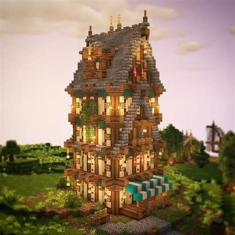 godalions minecraft  instagram  beautiful medieval tower  athrzybuilds beautiful