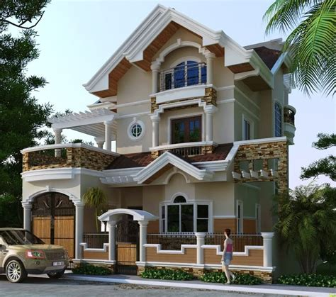 Two Storey Residential House With Attic  Home Design