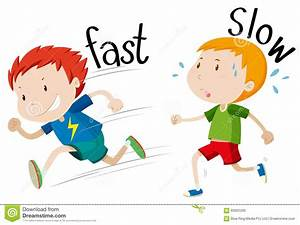 Opposite Adjectives Fast And Slow Stock Vector ...