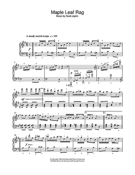 Print and download 'maple leaf rag' by ragtime composer scott joplin. Maple Leaf Rag sheet music by Scott Joplin (Easy Piano - 103942)