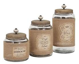 country kitchen canister sets country glass jars and lids kitchen canister set of 3 w jute wrap labels ebay
