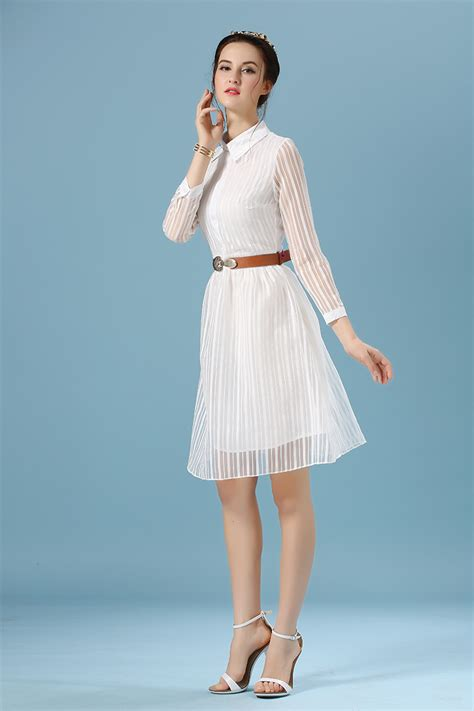 Spring Summer Style Casual Women White Dress Long Sleeve
