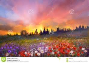 Flower Landscape Oil Paintings Sunset