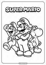 Mario Coloring Super Printable Pdf sketch template