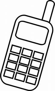 Cell phone mobile phone clip art black white public domain ...