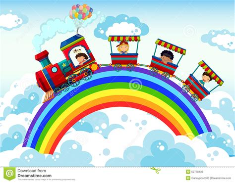 train  rainbow stock vector illustration  locomotive
